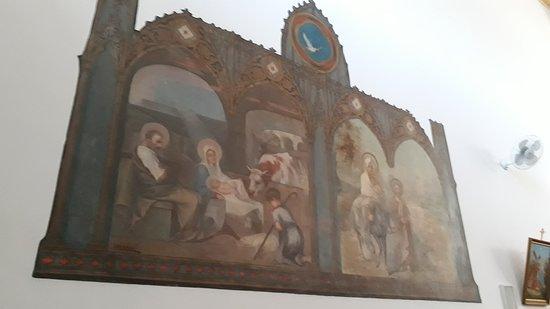 Igreja Nossa Senhora das Merces: Quadro de Angelo Biggi que representa Jesus na Manjedoura e Fuga da Sagrada Família para o Egito