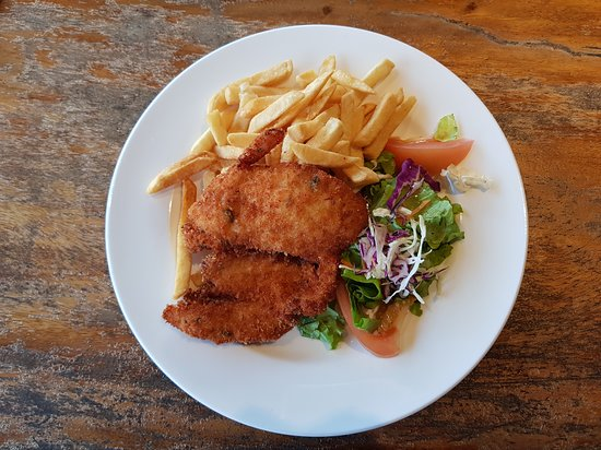 Chicken Schnitzel With Chips And Salad Picture Of Heineken House Restaurant And Bar Viti Levu Tripadvisor