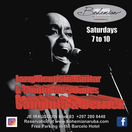 Bohemian Bar And Restaurant: Saturday 7 to 10 live Act with Sanghita soulful 80's tunes, jazzy, loungy with acoustic guitar
