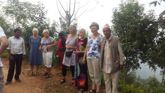 Dhading, Nepal: group in Country paradise resort.
