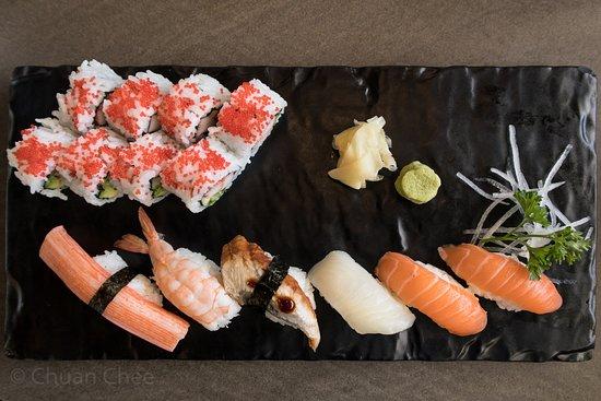 Sushi Maki Combo A, 14 pcs, $11.99. 2 salmon, red snapper, shrimp, crab, eel, 8 California roll.