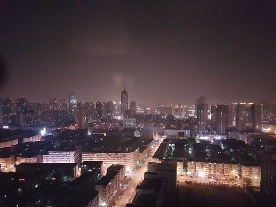 Amazing view of the city from the room at night