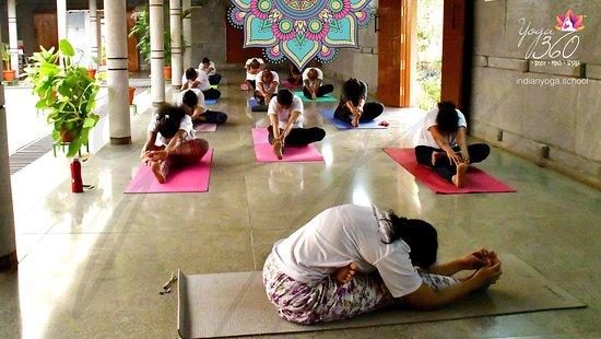 Mysuru (Mysore), India: A classroom session Yoga session