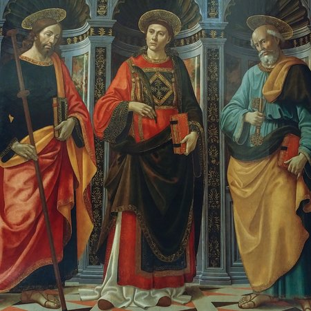 Galleria dell'Accademia: San Esteban entre San Jacobo y San Pedro, Domenico Ghirlandaio