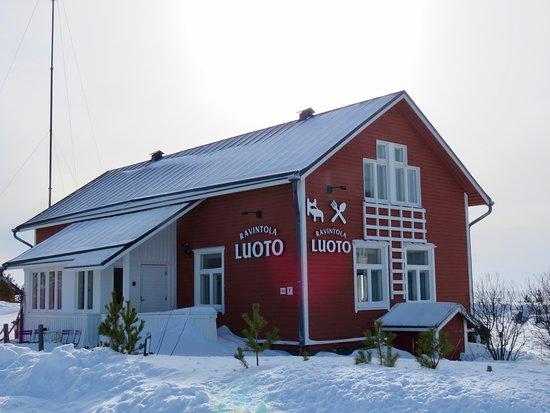 Marjaniemi Lighthouse: Luoto-ravintola. Tällä kertaa emme käyneet sisätiloissa, mutta kuvasimme taloa lumen keskellä.