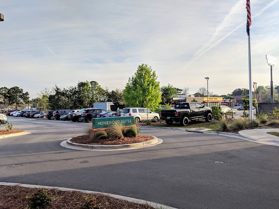 All of the parking they have for this hotel (including someone parking on the grass), except for a few spots behind the main entrance- there is so little room you must parallel park even in those spots.
