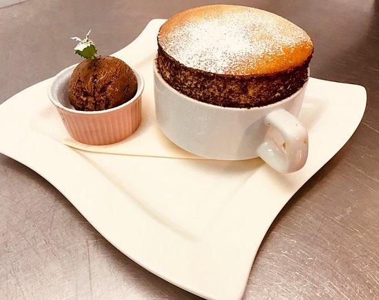 Sachi's: Pistachio soufflé with chocolate ice cream