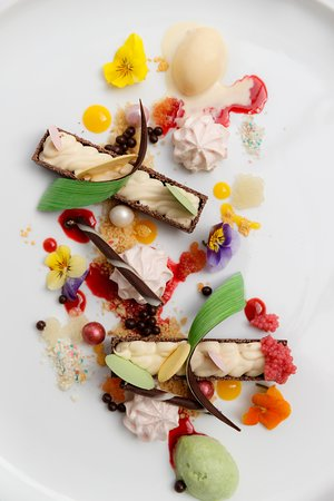 Fruits, Florals, and Chocolate shared dessert