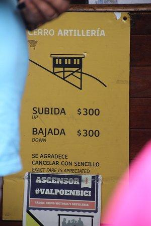 Ascensor Artilleria - Prices - Valparaiso, Chile