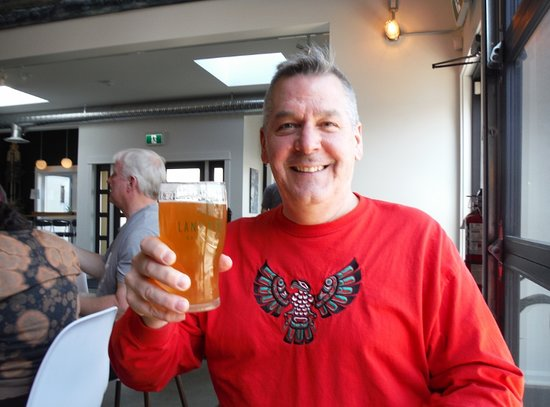 Land & Sea Brewing Company: The author and his pint