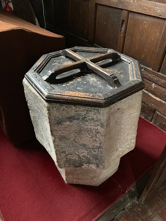 Melverley, UK: The Saxon Font From The Original Church