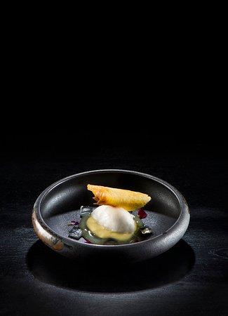 Crema de jengibre con sorbete de lichi, gelatinas de menta y lima, aceite de pino y barquillo de piña.