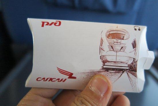 High-Speed Train Sapsan: แล้วก็มีนี่ให้ครับ หูฟังใส่ในกล่องแพ็คเก็ตอย่างดีครับ