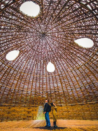Bamboo dome inside the old Shangrila Paradise theme park in Miaoli County's Zaoqiao Township, now home to the CMP Village, a glamping operation.