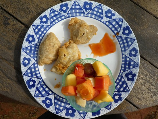 Empanadas with cheese and fruitsalad