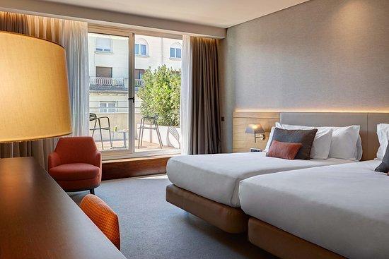 Superior twin room with terrace, Gran Hotel Domine in Bilbao. Spain. 5-star Luxury.