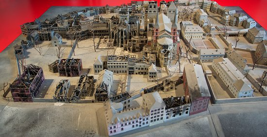 Scale model showing the ravages of WW2