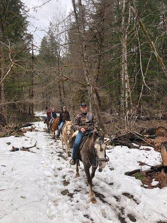 Horseback and waterfalls romantic day