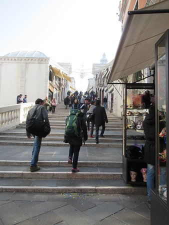 The central steps with tourist shops