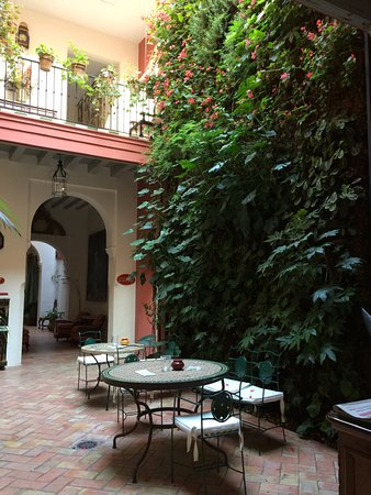 The hallway and courtyard