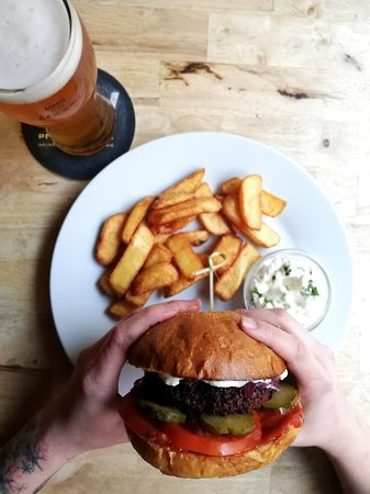 Burger with fries & beer