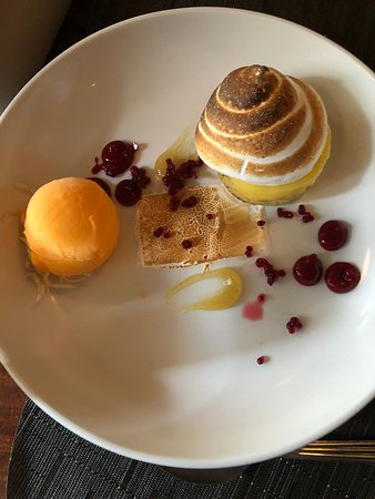 Saturday Lunch: Lemon Tarte with Tangerine Sorbet, Toasted Meringue, Raspberry Caviar, Candied Lemon Peel.
