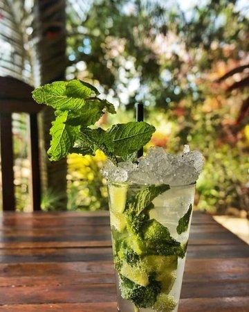 Santo Cerrado Risoteria Cafe: Golden Mojito, preferência para os dias quentes, é feito com Rum Bacardi, refrigerante soda limonada, hortelã e limão.