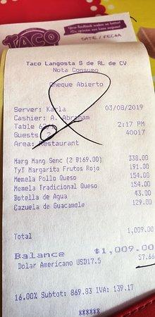 Taco y Tequila Cozumel: Bill