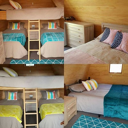Inside the cabins- 2 family rooms, 1 Queen set and 1 King set