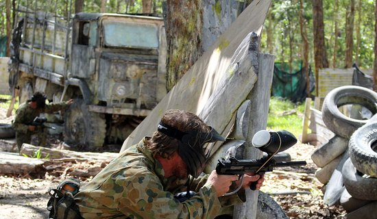 Skirmish Sunshine Coast Outdoor Paintball: ready to take out the flag