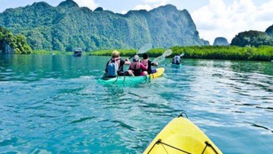 Tour en kayak dans Tha Lane Bay - Partez à l'aventure dans les méandres de cette magnifique mangrove, véritable écosystème marin garant des espèces aquatiques de la région. Vous aurez l'occasion de rencontrer des singes, reptiles, échassiers et même des dauphins roses venant se réfugier dans la baie. Un paysage magnifique aux allures de terre perdue du film Jurassic Park vous attend.