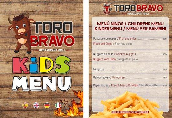 Toro Bravo Restaurante Grill: Menú Restaurante Toro Bravo
