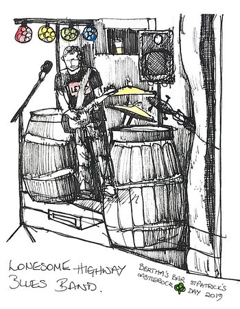 A drawing by a talented customer capturing a scene from our St Patrick's evening featuring the brilliant Lonesome Highway Blues Band.