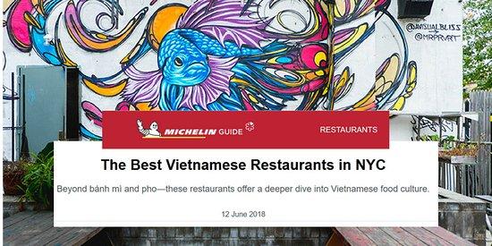 Michelin Guide New York named Falansai among the best Vietnamese Restaurants in New York City. Michelin Bib Gourmand 2019.