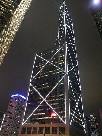 Below the Bank of China at night