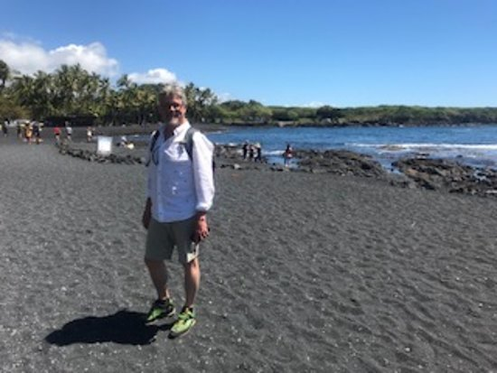 Big Island in a Day: Volcanoes, Waterfalls, Sightseeing, History: My friend Joel & I enjoyed the black sand at two of our stops.