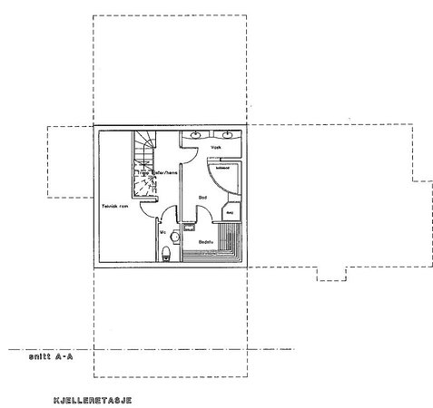 Basement; Bathroom with sauna, jacuzzi and shower.  Separat toilet Technical room with washing machine and freezer.
