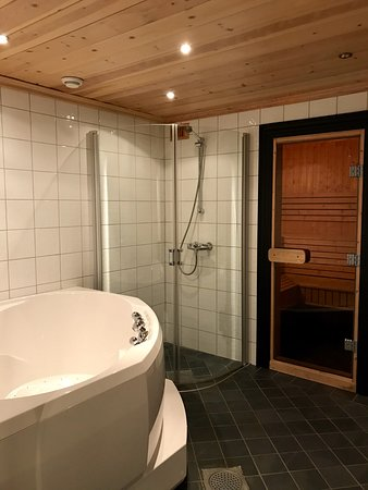 Jacuzzi and sauna in the basement.