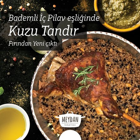 Bademli İç Pilav ile Kuzu Tandır Roasted Lamp with stuffed rice (almonds, nuts, liver, currants,onion)