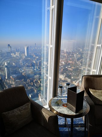 Shangri-La Hotel, At The Shard, London: View from our room and the seating area.