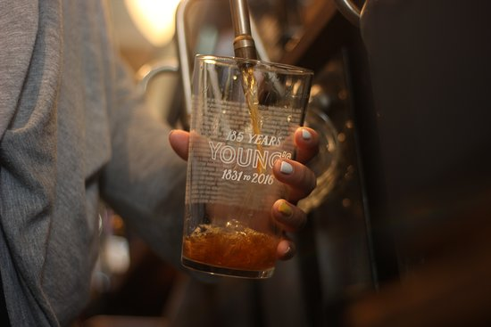 The Grove: Young's ale poured perfectly everytine