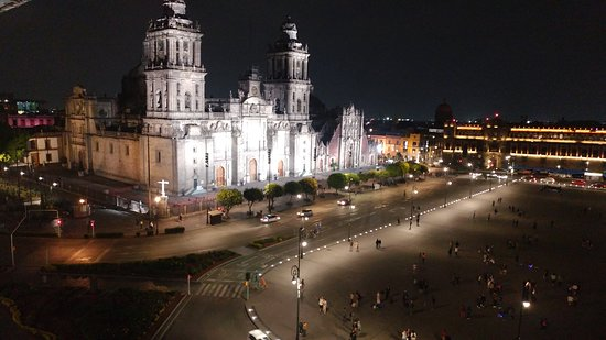 Mexico City S Zocalo At Christmas Seen From The Hotel