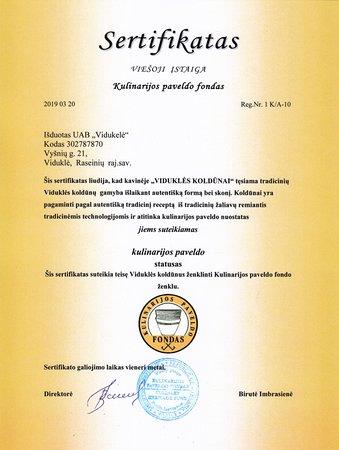 Vidukle, Litvánia: Turėti šį Kulinarijos paveldo fondo sertifikatą - mums didžiulis įvertinimas ir paskatinimas. Tai įrodymas, kad einame teisingu keliu! 🤩🥳  Primename, kad Viduklės koldūnų sezoną pradedame kovo 29d. (iki balandžio pabaigos dirbsime tik savaitgaliais). Labai lauksime Jūsų! 🤗🥰