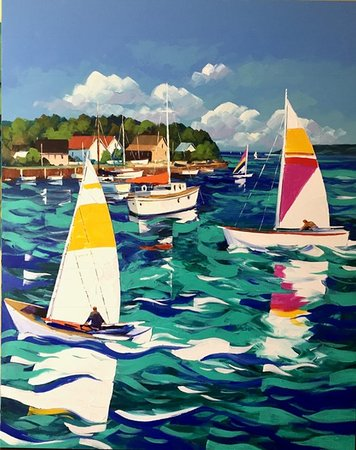 """Galerie Porte Rouge: """"Sailing away"""" 48x60 Gorgeous painting from Christain Bergeron. East coast USA scene."""