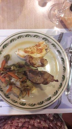 Carne con verdura a la plancha