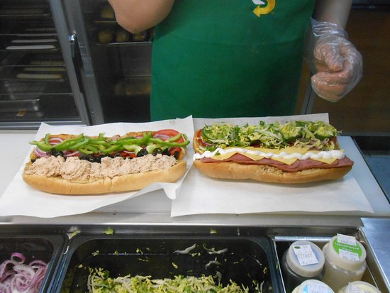 Subway, Yakutsk, Russia. Just look at these two foot-long sandwiches.