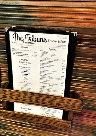 Tribune Smokehouse: Menu Holder... they will give you a paper menu too if you would like to pop it in your glove box and call in an order... Nice menu..