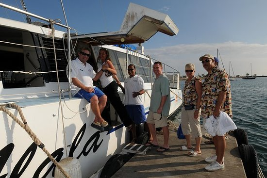 鲸鱼和鸡尾酒在日落时从Kawaihae巡航