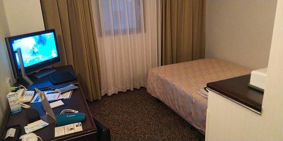 GRG Hotel Naha: テレビ及びセミダブルベット