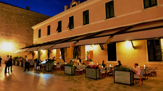 The restaurant outdoor tables